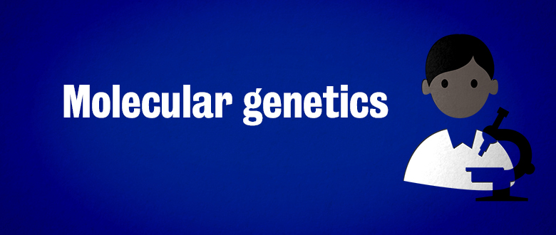 Researcher icon on blue background with text Molecular genetics