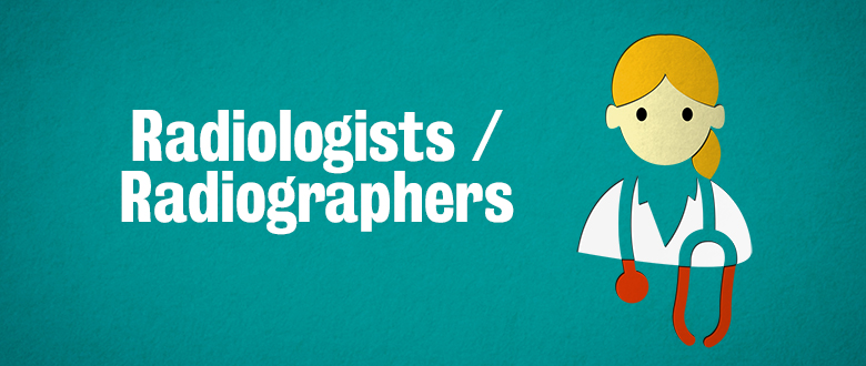 Radiologists and radiographer icon with red stethoscope and text Radiologists / Radiographers