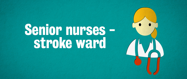 Senior nurse icon with red stethoscope and text Senior nurses - stroke ward