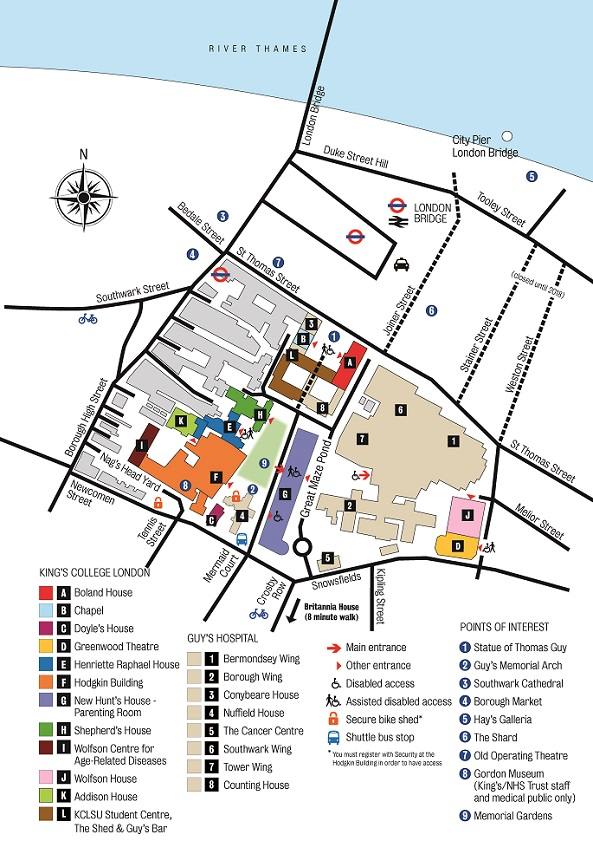 map of King's College Guy's Campus