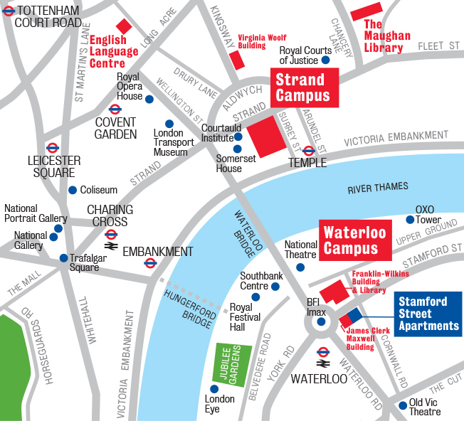 Strand and Waterloo location map