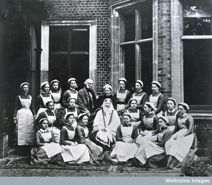 Florence Nightingale with Nightingale Nurses