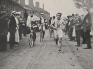 Photograph of the marathon race showing runner Hayes (USA) at Willesden