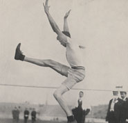 Photograph of RC Ewry (USA) winning the standing high jump