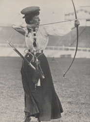 Photograph of Miss Q Newall (UK), winner of the national round in archery