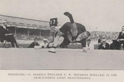 Photograph of Y Saarela (Finland) and W Weckman (Finland) wrestling in the Graeco-Roman light heavyweights