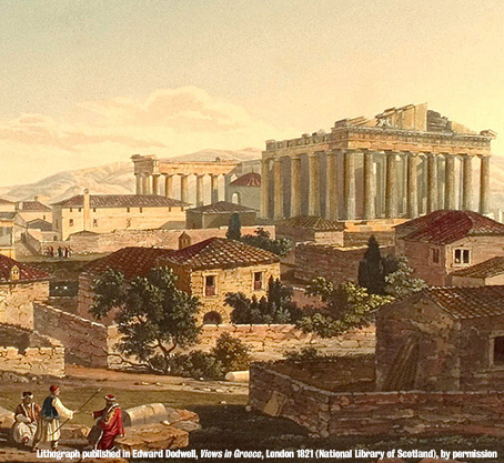 Lithograph of the Acropolis, published in Edward Dodwell, Views in Greece, London 1821, National Library of Scotland, by permission