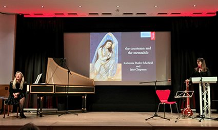 A photograph of the first Histories of the Ephemeral event with harpsichordist Jane Chapman