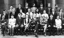 A black and white group photograph of the founding cohort of the Music department at King's College London