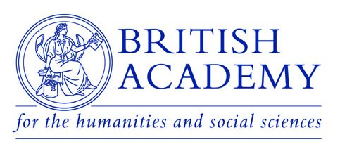 A logo of blue on white for the British Academy. Strapline 'for the humanities and social sciences'