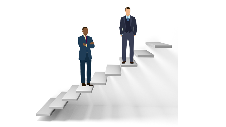 Cartoon graphic of floating steps, with a white man in suit at a higher positon than a Black man in suit