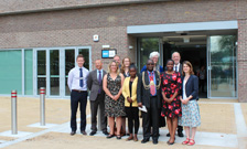 Professor Dianne Rekow, Professor Stephen Dunne with Mayor Aminu and colleagues from Lambeth Council and Knights Hill Surgery outside the new West Norwood Health & Leisure Centre