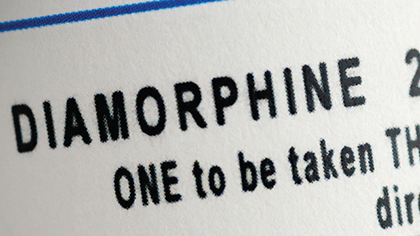 Close-up of descriptive sticker on a packet of diamorphine