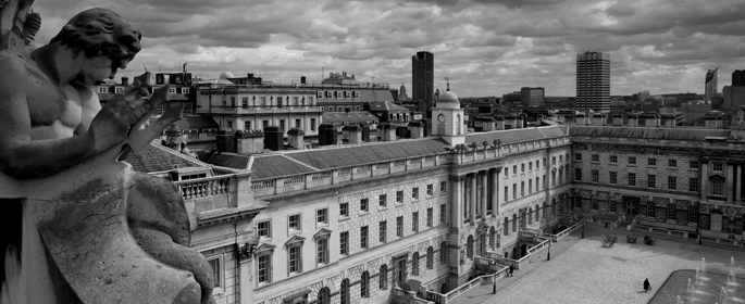 Black and white image of Somerset House East Wing