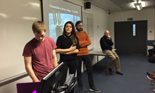 physiology students speaking to Tim Peake
