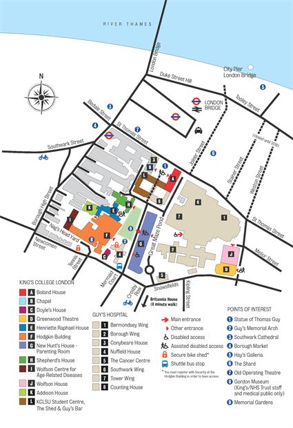 Guy's Campus map 2016-22 Addison House
