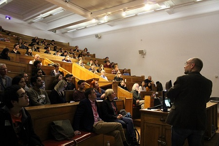 The Dark Matter Day audience in the Anatomy Lecture Theatre