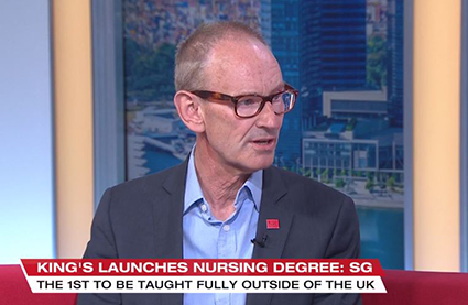 Professor Ian Norman speaking on Singaporean TV