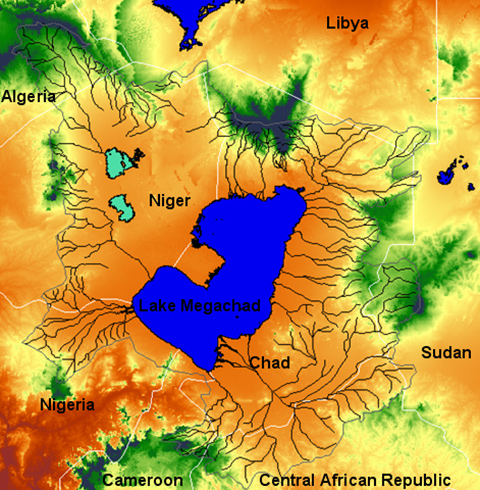 The rivers, lake area and catchment area of Lake Megachad overlaid on the DEM of the Chad basin.