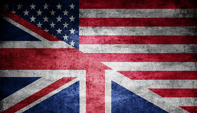 The United States and United Kingdom Flags