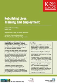 Training and Employment Policy and Practice Briefing from the Rebuilding Lives study