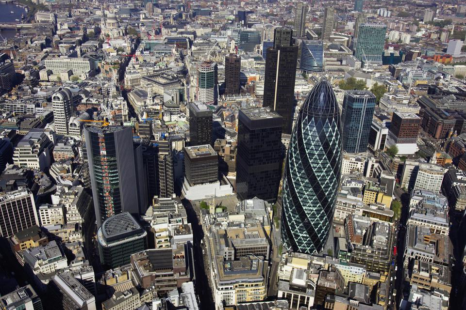 Aerial view of the City of London_ the financial centre of the capital