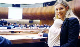 Filippa Lentzos, Senior Research Fellow, at the UN BioWeapons Convention, with baby Maia