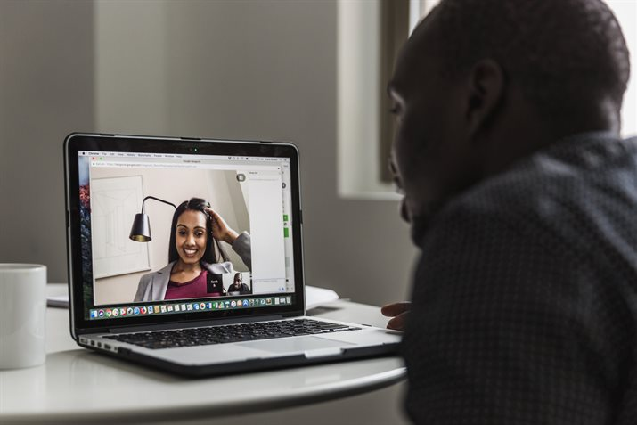 man and woman on video chat