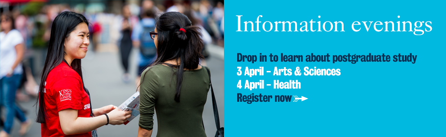 Information evening. Drop in to learn about postgraduate study. 3 April - Arts & Sciences. 4 April - Health. Register now.