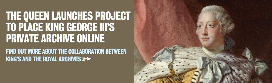 The Queen launches project to place King George III's private archive online. Find out more about the collaboration between King's and the Royal Archives.