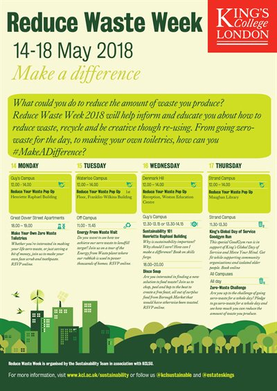 Reduce waste week timetable