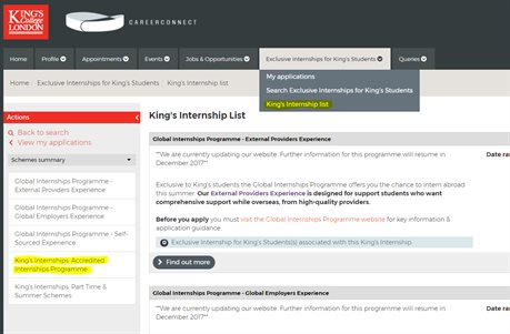 King's College London - Being a student on the Internship Programme