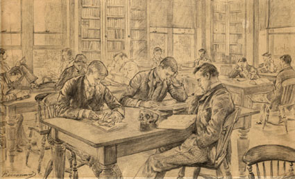 In the Library - a drawring by Charles Paul Renouard