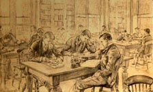 Charles Paul Renouard drawing In the Library