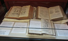 Exhibition case in the Weston Room at the Maughan Library