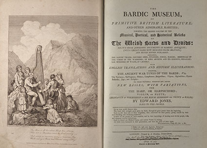 Title page and frontispiece from Edward Jones, The bardic museum, of primitive British literature; and other admirable rarities, 1802