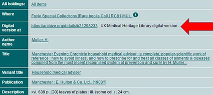 Library catalogue record with link to UK Medical Heritage Library record highlighted