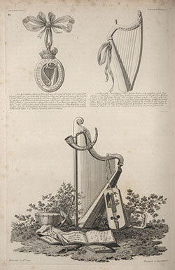 Engraving showing harps and other instruments. From: Edward Jones, Musical and poetical relicks of the Welsh bards, 1794