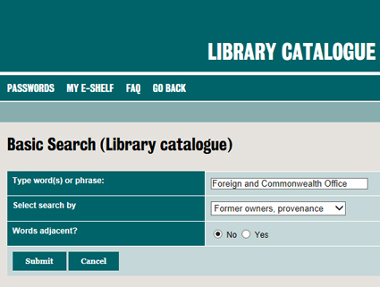Screen from Library catalogue demonstrating search