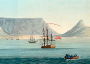 Table Bay, with Cape Town and Table Mountain in the background. From 'The importance of the Cape of Good Hope as a colony to Great Britain ...' by Richard Barnard Fisher (1816)