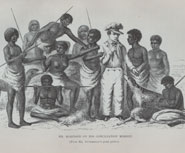 George Robinson surrounded by Tasmanian aborigines. From 'The last of the Tasmanians' by James Bonwick (1870)
