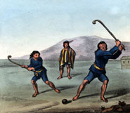 Two Araucanos playing bandy ball in Chili. From 'Travels into Chile, over the Andes, in the years 1820 and 1821' by Peter Schmidtmeyer (1824)