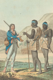 Plate entitled 'The author in Cafaria' depicting a European talking to two Africans. From 'Travels through the Interior of Africa ...' by Christian Friedrich Damberger (1801)