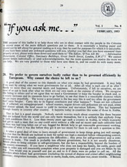 Page 1 of the leaflet 'If you ask me...', vol. 1, no. 8, February 1953