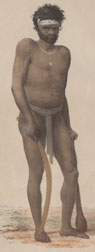 Portrait of an Aboriginal native from 'Three Expeditions into the Interior of Eastern Australia' by Thomas Livingstone Mitchell (1839)