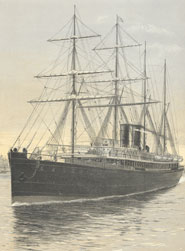 Lithograph of the steamship SS Austral from 'Illustrated guide of the Orient Line of steamers between England & Australia' (1883?)