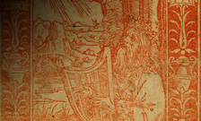 Detail from red woodcut depicting King David playing the harp.
