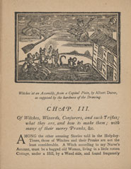 First page of chapter 3 with woodcut showing witches at an assembly