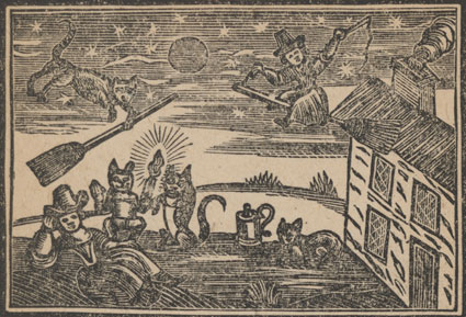 Woodcut showing witches at an assembly
