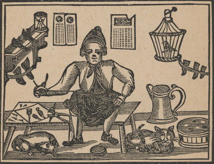 Woodcut of a conjuror with his cat and tricks